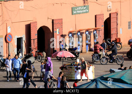 Open gates of the enclosed souk on the famous Jemaa el-Fnaa square in Marrakesh, Morocco - Stock Photo