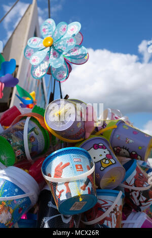 Buckets and spades on sale at Skegness, UK - Stock Photo