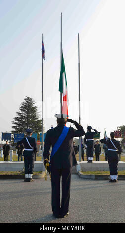 The Italian Royal Air Force was created on March 28, 1923, which became the Aeronautica Militare (Italian Air Force) later. Brig. Gen. Lance Landrum, 31st Fighter Wing commander, attended the ceremony commemorating the event. - Stock Photo