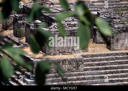 Ruins at the ancient Mayan archaeological site at Copan in western Honduras. - Stock Photo
