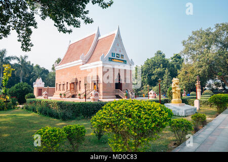 Varanasi, India - November 23, 2017 : Wat Thai Sarnath Temple - Stock Photo