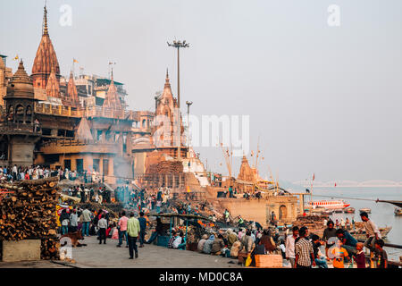 Varanasi, India - November 23, 2017 : Manikarnika Ghat with Ganges river - Stock Photo