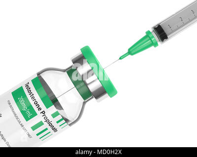 3d render of testosterone propionate vial with syringe over white background. Anabolic steroids concept. - Stock Photo