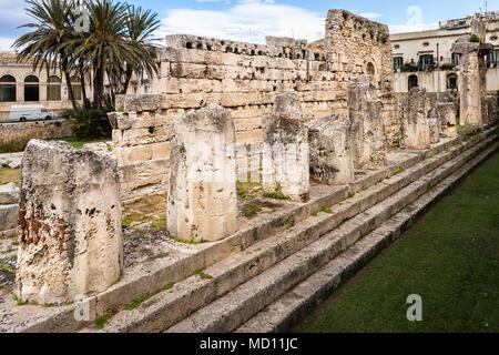 Temple of Apollo in Ortigia, Siracusa, Sicily. - Stock Photo