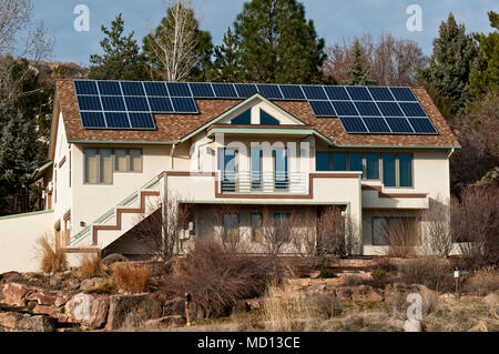 Solar panels mounted on the roof of a house in Boise, Idaho - Stock Photo