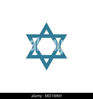 Star of david shape icon in flat design. Israel Independence Day holiday concept. - Stock Photo
