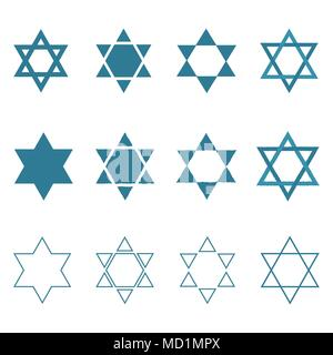 Star of david shape icon set in flat and outline design. Israel Independence Day holiday concept. - Stock Photo