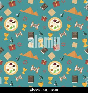 Passover holiday flat design icons seamless pattern. - Stock Photo
