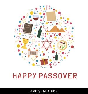 Passover holiday flat design icons set in round shape with text in english 'Happy Passover'. - Stock Photo