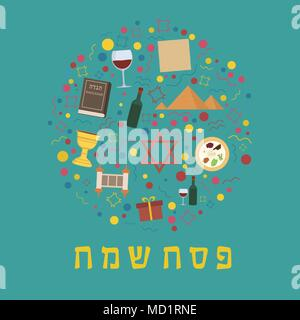 Passover holiday flat design icons set in round shape with text in hebrew 'Pesach Sameach' meaning 'Happy Passover'. - Stock Photo