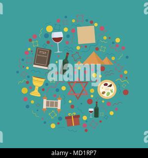 Passover holiday flat design icons set in round shape. - Stock Photo