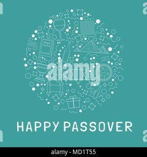 Passover holiday flat design white thin line icons set in round shape with text in english 'Happy Passover'. - Stock Photo