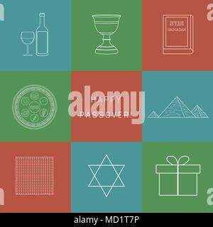 Passover holiday flat design white thin line icons set with text in english 'Happy Passover'. - Stock Photo
