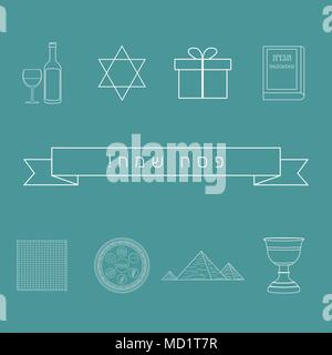 Passover holiday flat design white thin line icons set with text in hebrew 'Pesach Sameach' meaning 'Happy Passover'. - Stock Photo