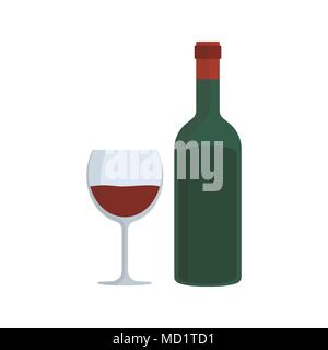 Wine bottle & glass flat design icon. - Stock Photo