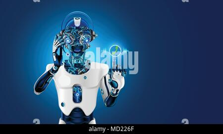 Robot head with headset. Robot receives the call. The Bot talk with customer on phone or chat. Web sait assistant. Automatic call center. Futuristic concept. - Stock Photo