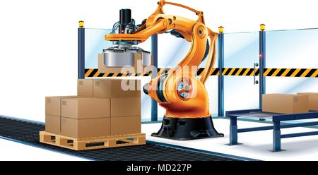 Robot Palletizing Systems, Robotic arm loading cartons on pallet. - Stock Photo