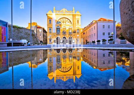 Croatian national theatre of Split water reflection view, Dalmatia region of Croatia - Stock Photo
