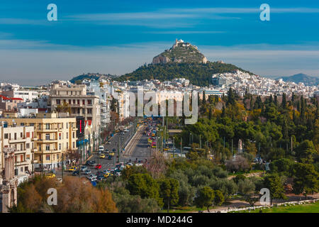 Aerial city view in Athens, Greece - Stock Photo