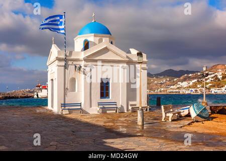 Agios Nikolaos Church on island Mykonos, Greece - Stock Photo