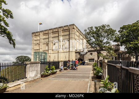 Norwich Castle is a medieval royal fortification in the city of Norwich, in the English county of Norfolk.  it now houses the county's musem - Stock Photo
