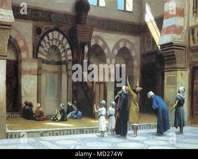 Gerome Jean-Léon -  Prayer in the Mosque of Caid Bey in Cairo - Stock Photo