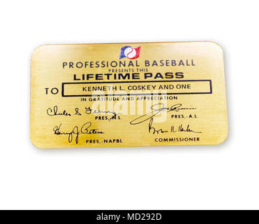 Major League Baseball has occasionally given out its coveted Lifetime Pass, the 'Golden Ticket,' to veterans. On September 6, 1968, North Vietnamese shot down as A6A Intruder piloted by Navy Commander Kenneth Coskey. Held as a prisoner of war in North Vietnam, he was released on March 14, 1973. Major League Baseball presented him with this Lifetime Pass that would allow Coskey and a guest to attend any game for the rest of his life. Courtesy Kenneth Coskey. - Stock Photo