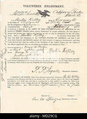 HANSCOM AIR FORCE BASE -- Civil War era enlistment papers shows the Martin Kelley of Ireland volunteered to serve in the 9th Massachusetts Infantry Regiment. In the war against slavery, at least 140,000 Irish immigrants and first generation Irish-Americans served in the military. (Courtesy of the Massachusetts National Guard Museum and Archives) - Stock Photo