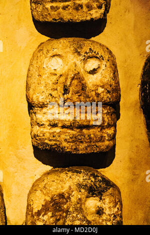 Aztec stone skulls found at the Templo Mayor site. They represent the tzompantli or skull racks where the heads of sacrificial victims were placed. Te - Stock Photo