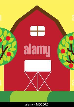 farm barn clip art. Apple Tree House Cartoon · Red Farm Barn Wooden Building And Trees Fruits - Stock Photo Clip Art