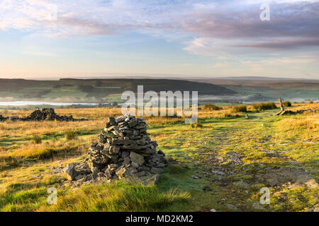 The Pennine Way and the View South Over Lunedale From Harter Fell, Teesdale, County Durham, UK - Stock Photo