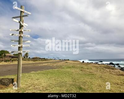 direction sign to san francisco from easter island