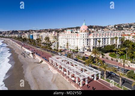 Nice, France, Aerial view of promenade des Anglais, Cote d'Azur, - Stock Photo