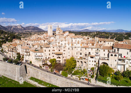 Aerial view of St Paul de Vence, a Famous perched village on French Riviera. - Stock Photo