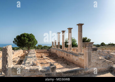 Sunset at Ancient Columns of Apollo Temple ruins, Limassol District. Cyprus. - Stock Photo