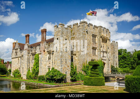 Hever Castle, United Kingdom - June 18, 2015: Panoramic view of Hever Castle and it's beautiful garden and once the childhood home of Anne Boleyn. - Stock Photo