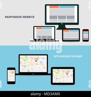 Flat designed banners for responsive website and GPS Navigation map on on media technology devices - Stock Photo
