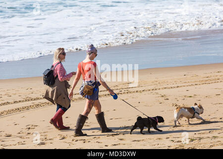 Bournemouth, Dorset, UK. 18th April 2018. UK weather: lovely warm sunny day at Bournemouth beaches with clear blue skies and unbroken sunshine, as visitors head to the seaside to enjoy the warmest day of the year so far. Two young woman walking dogs along the seashore. Mini heatwave. Credit: Carolyn Jenkins/Alamy Live News Credit: Carolyn Jenkins/Alamy Live News - Stock Photo