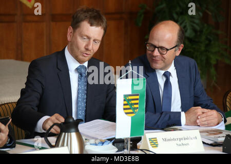 Bad Schmiedeberg, Germany - April 18, 2018: Saxony's Prime Minister Michael Kretschmer at the meeting of East German Prime Ministers in Bad Schmiedeberg. He calls on the new federal government to do more for rural development. Credit: Mattis Kaminer/Alamy Live News - Stock Photo