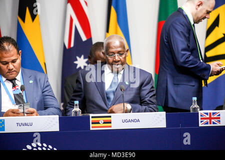 London, UK. 18th April 2018. Uganda Foreign Minister, Sam Kutesa at the round table during Commonwealth Heads of Government Meeting in Lancaster House in London, United Kingdom, on April 18, 2018. UK Minister Boris Johnson is hosting the meeting. Credit: Michal Busko/Alamy Live News - Stock Photo
