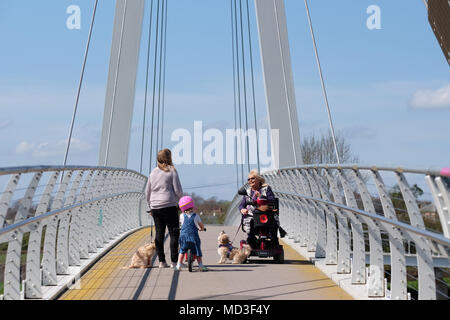 Hereford, Herefordshire - April 2018  - Pedestrians and dog walkers stop for a chat on the modern Hereford Greenway bridge over the River Wye that links Hereford city with Rotherwas, a Sustrans project. Photo Steven May / Alamy Live News - Stock Photo