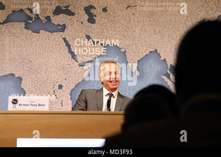 London, UK. 18th April 2018. Former British Prime Minister Tony Blair, at the Chatham House think-tank in London on 18 April, 2018, where he was chairing a discussion with Gambian President Adama Barrow. Credit: Dominic Dudley/Alamy Live News - Stock Photo