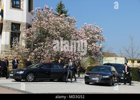 Bad Schmiedeberg, Germany - April 18, 2018: German Chancellor Angela Merkel arrives in Bad Schmiedeberg for the conference of East German Prime Ministers. Credit: Mattis Kaminer/Alamy Live News - Stock Photo