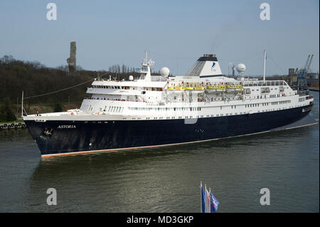 Gdansk, Poland. 18th April 2018. 160 meter long cruise ship MV Astoria started cruising season in Gdansk harbour in Gdansk, Poland. April 18th 2018. Built in 1948 as Stockholm is the oldest cruise ship in the world. Known for causing sea crash with famous Andrea Doria line ship in 1956 causing its sunk © Wojciech Strozyk / Alamy News Live - Stock Photo