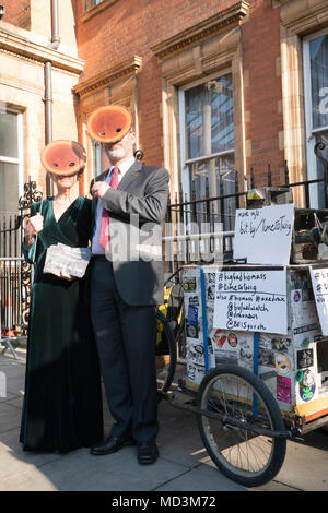 London, UK. 18 April 2018. Demonstrators protesting outside a conference about Biomass in the Landmark Hotel in London. Photo date: Wednesday, April 18, 2018. Photo: Roger Garfield/Alamy Live News - Stock Photo
