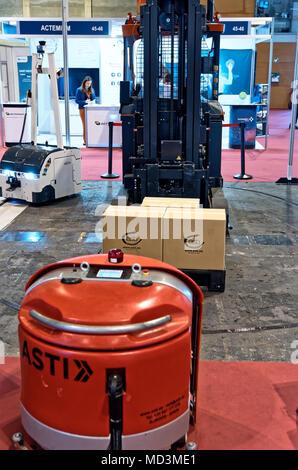 Madrid, Spain - April 18, 2018: ASTI Mobile Robotics  GR-EX, Madrid, Spain Credit: EnriquePSans/Alamy Live News - Stock Photo