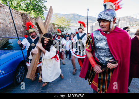 Living Via Crucis, re-enacting the Stations of the Cross during Holy Week-Semana Santa in Laujar de Andarax, Almeria province, Andalusia, Spain - Stock Photo