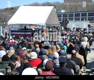 GROTON, Conn. (Mar. 17, 2018) The Honorable John W. Hickenlooper Jr., Colorado Governor, offers remarks at the commissioning ceremony for USS Colorado (SSN 788) on March 17, 2018. Colorado is the the U.S. Navy's 15th Virginia-class attack submarine and the fourth US Navy ship named for the State of Colorado.  (U.S. Navy photo by Chief Petty Officer Darryl I. Wood/Released) - Stock Photo