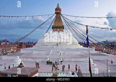 KATHMANDU, NEPAL - OCTOBER 03, 2008: The Boudhanath stupa is the holiest Buddhist landmark in Nepal and UNESCO site since 1979 - Stock Photo