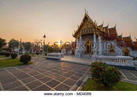 Wat Benchamabophit, the marble temple, Bangkok, Thailand - Stock Photo